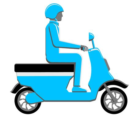 Scooter driven by a male driver vector icon