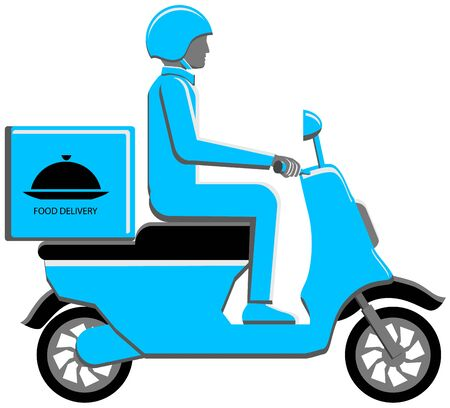 Food delivery motorcycle scooter vector icon Illustration