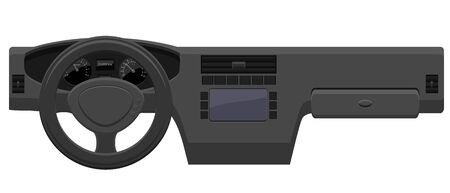Vehicle dashboard with steering wheel vector icon Illustration