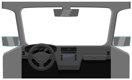 Windshield and dashboard vector icon