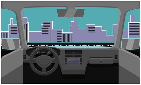Dashboard view of city streets vector