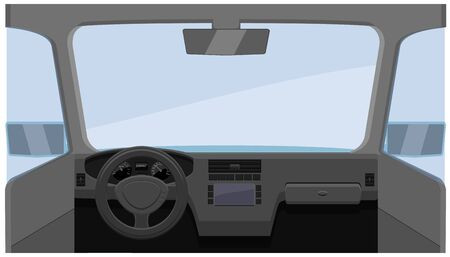 Vehicle interior dashboard with glass windshield vector