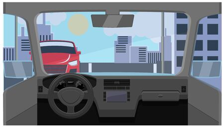 City streets and buildings in dashboard view vector