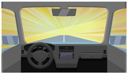 Lighting fast car in dashboard view vector