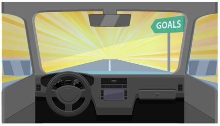 Vehicle going fast to the goal vector icon