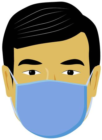 Chinese man with face mask vector icon