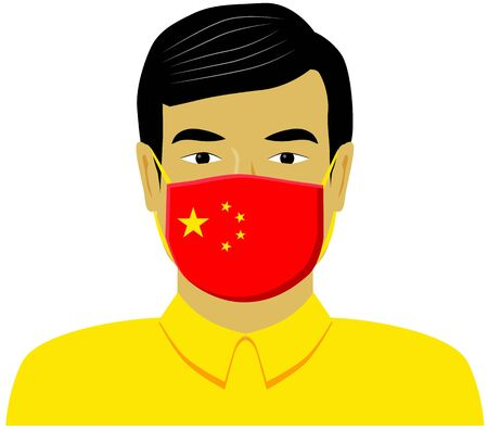 Chinese man with medical face mask printed with China flag vector icon