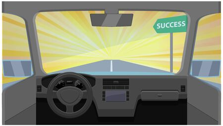 Vehicle going to success on bright light background Illustration