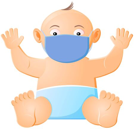 Baby with face mask to protect from virus