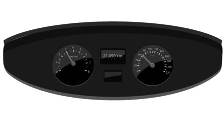 Speedometer and rpm counter vector icon