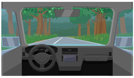 Car dashboard view of highway icon Illustration