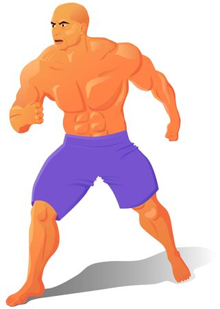 Big muscle man in fighting form vector icon