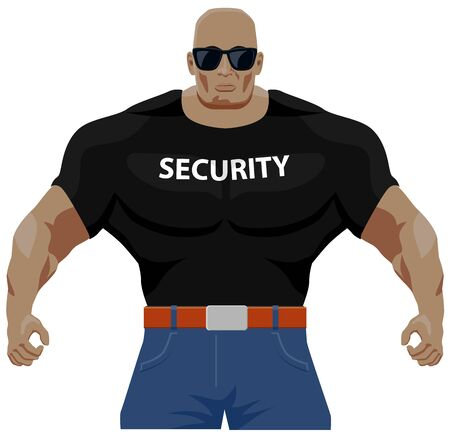 Big muscular bouncer with shades