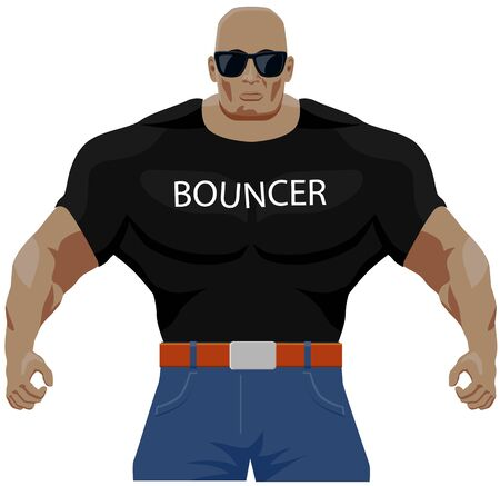 Big muscled bouncer vector icon Illustration