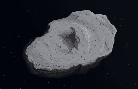 Asteroid in space background digital painting