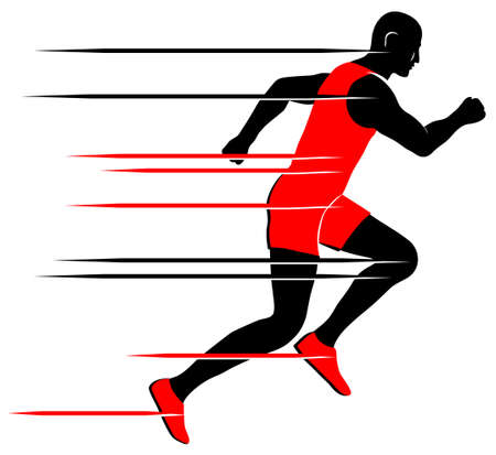 Fast runner in red and black vector icon