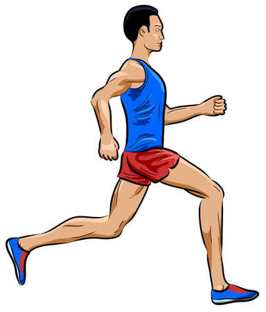 Runner in side view vector icon