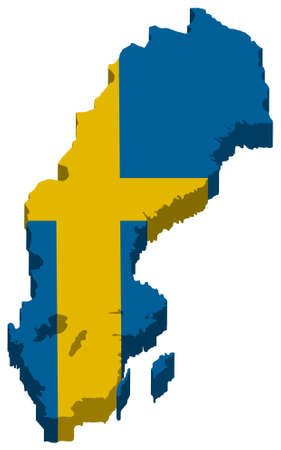 Sweden map embedded with flag vector icon