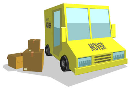 Haul or mover delivery truck van vector Illustration