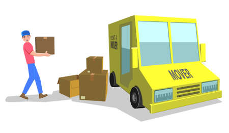 Delivery truck worker carrying boxes Illustration
