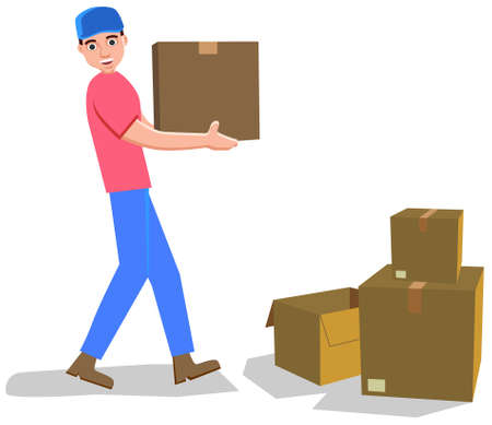 Man carrying carton boxes vector