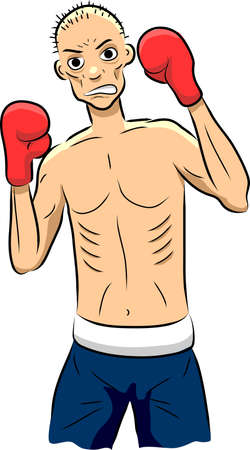 Vector illustration of a brave but thin and sickly boxer.