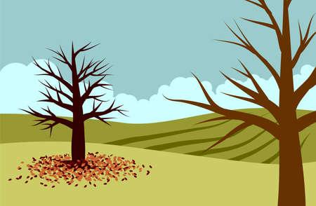 Vector illustration of trees on the field during autumn. Illustration