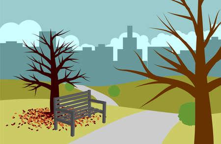 Park landscape during autumn vector illustration