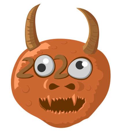 2020 horned monster vector icon