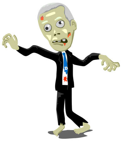 Old male zombie wearing a business suit