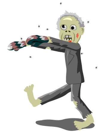 Old man zombie with colored gloves walking