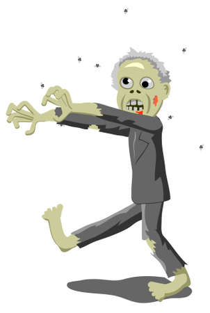 Vector illustration of an old zombie politician walking