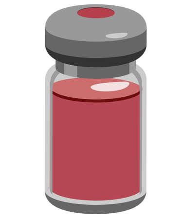 Medicine vial with reddish liquid inside vector icon Illustration
