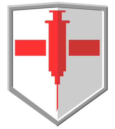 Vector icon of a medical shield with syringe or injection symbol