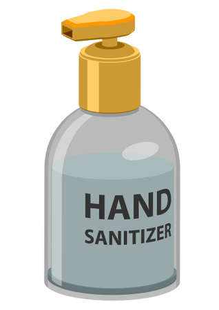 Vector icon of hand sanitizer with label