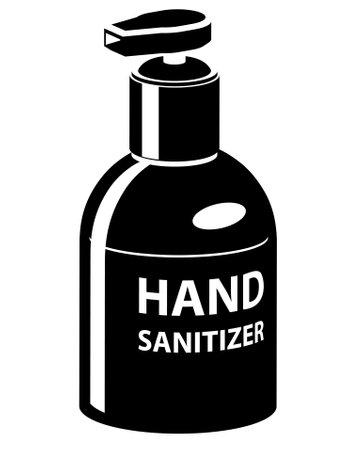 Hand sanitizer dispenser black vector icon Illustration