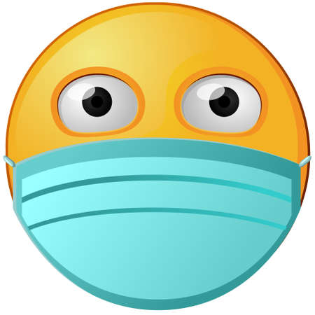Vector icon of yellow emoji icon with face mask.