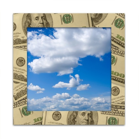Dollars frame and blue sky with clouds photo