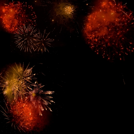 s eve: Fireworks backgroud made from several images Stock Photo