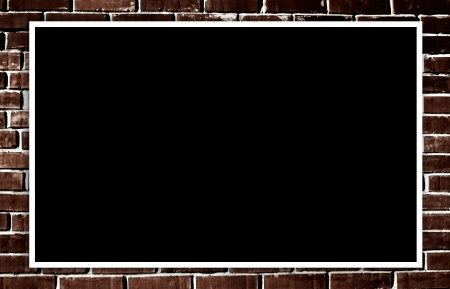 Empty photo on grunge brick wall background photo