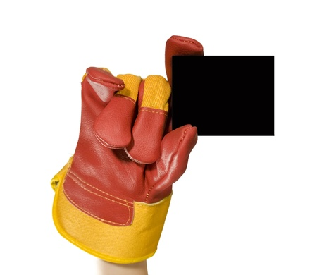 Red protective gloves holding an empty black frame for your text photo