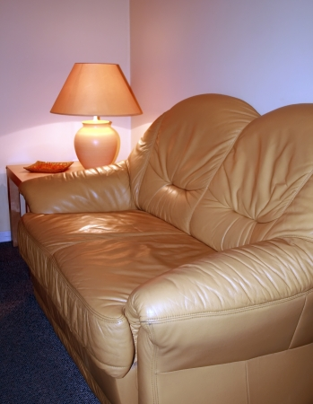 Leather sofa with lamp on a table photo