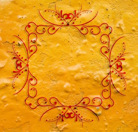 ornamente: Orange grunge  background with cool vintage frame
