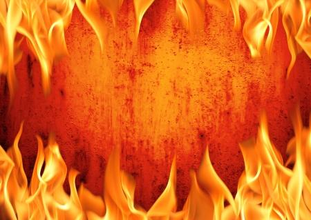 Grunge fire wall background photo