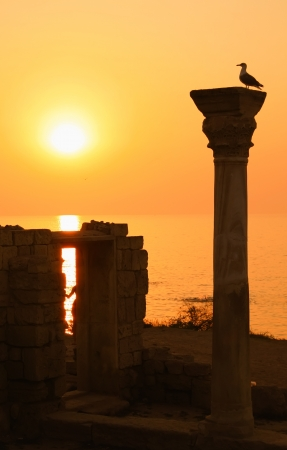 Ancient ruins during sunset photo