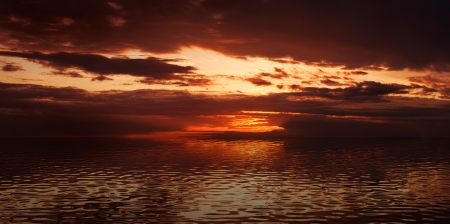 Sunset sea with cool waves. High resolution panoramic image photo