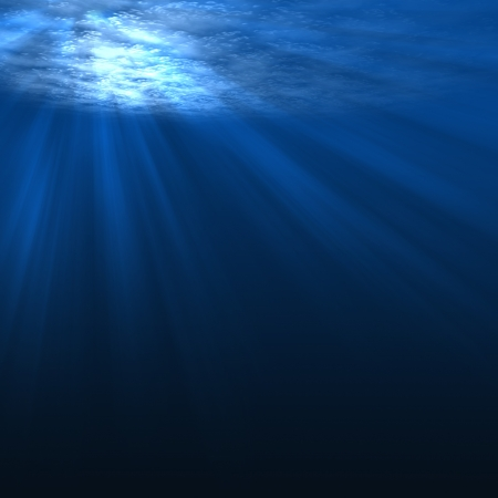 Underwater scene with rays of light photo