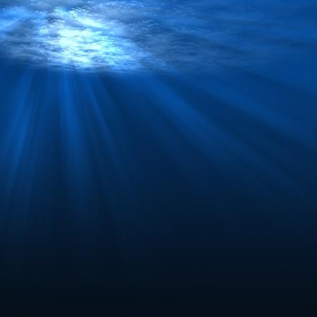 Underwater scene with rays of light