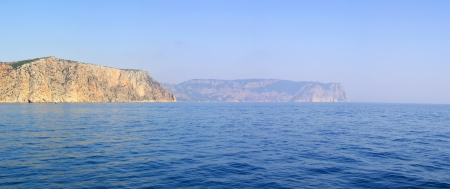 View on the coastline from the sea. High resolution panoramic photo photo