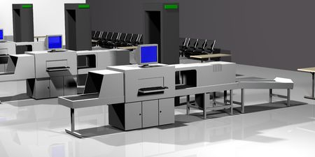 3d Render of luggage scan. Stock Photo